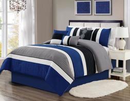 7 Piece Blue Black White Gray Comforter Set Queen/King Size
