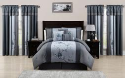 Chezmoi Collection 7-Piece Blue Gray Embroidered Floral Comf