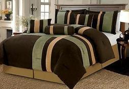 7 Piece Brown Beige & Sage Patchwork Micro Suede Comforter S