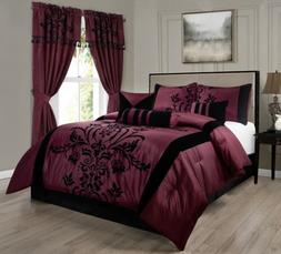 7-Piece Burgundy Black Flocked Floral Comforter Set or 4pcs