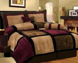 7 Piece Burgundy Brown Black Bed in a Bag Micro Suede KING C
