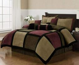 7-Piece Burgundy Brown Black Soft MicroSuede Patchwork Comfo
