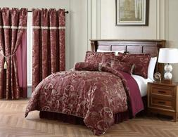 Chezmoi Collection 7-Piece Burgundy Jacquard Woven Paisley C