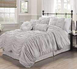 7-Piece Chic Ruched Gray Bedding Comforter Set , Geometric