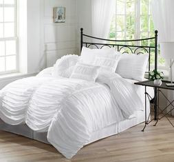 7-Piece Chic Ruched White Bedding Comforter Set , Geometric