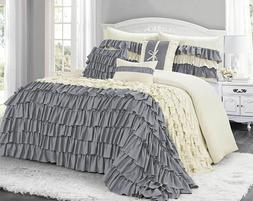HIG 7 Piece  Classic Comforter Set-Ruffled Style - Hypoaller