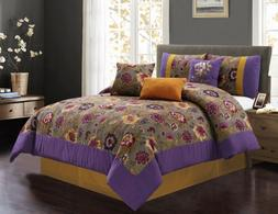 7-piece Clay Gold Gray Purple Printed Floral Comforter Set