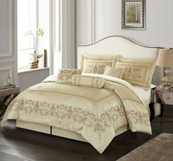 7-Piece Comforter Set Bedroom Embroidered Bedding Polyester
