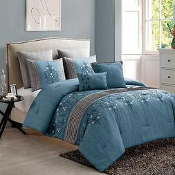 7 Piece Comforter Set Embroidered and Pleated Detail Polyest
