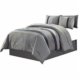 7 Piece Comforter Sets Bed In A Bag With Gray/Blue Comforter