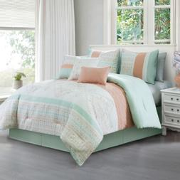 Laura 7-Piece Coral Mint Geometric Embroidered Pleated Strip