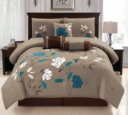 7 Piece Damaris White and Turquoise Flower in a Solid Brown