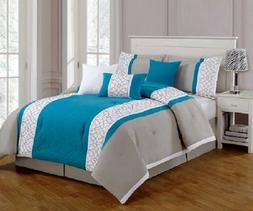 7 Piece Embroidered Comforter Set- Queen- Brand New-