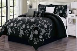 7 Piece Embroidery Black White Gray Comforter Set King Size
