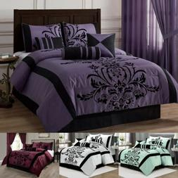 Chezmoi Collection 7-piece Flocked Floral Faux Silk Comforte