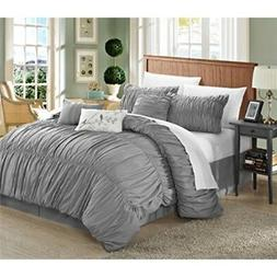 Chic Home 7 Piece Francesca Pleated Comforter Set, King, Sil