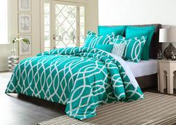 7-Piece Geometric Anbu Comforter Set All Sizes - Teal