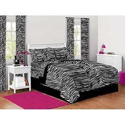 7 Piece Girls Black White Zebra Stripes Comforter Queen Set