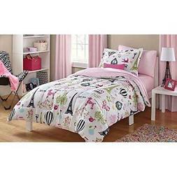 7 Piece Girls Pink I Love Paris Comforter Full Set Sheets Gi