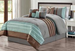 7 Piece Gray Brown Embroidery Comforter Set Queen Or King Si