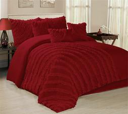 7 Piece Hillary Bed in a Bag Ruffled Comforter Sets- Queen K