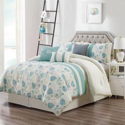 Chezmoi Collection  7-Piece Ivory Teal Floral Embroidered Co