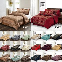 7 Piece Jacquard Comforter Set Quilted Bedspread Double King