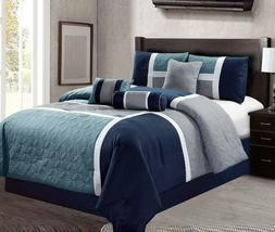 Luxlen 7 Piece Luxury Bed In Bag Comforter Set, Closeout, Qu