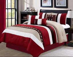 Luxlen 7 Piece Luxury Bed in Bag Comforter Set, Oversized, B
