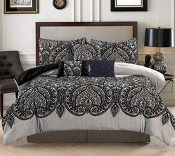 7 Piece Luxury King Comforter Set Black Paisley