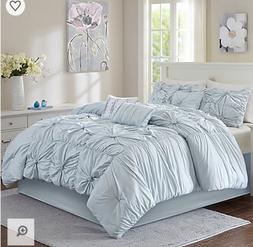 7 Piece Luxury Queen King Comforter Set Bun Blue