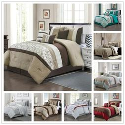 7 Piece Luxury Quilted Embroidered Comforter Set Bed In A Ba