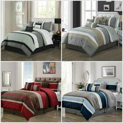 7-Piece Luxury Striped Comforter Set Soft Bed in A Bag Overs