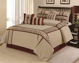 7 Piece MARMA Ruffle & Patchwork Comforter Sets Grey NavyBlu