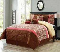 7 Piece Medallion Quilted Floral Comforter Set