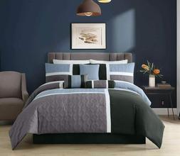 7-Piece Medallion Quilted Patchwork Comforter Set, Blue Char