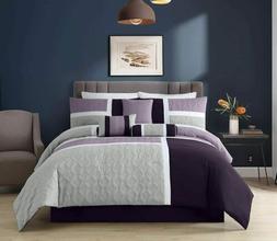 7-Piece Medallion Quilted Patchwork Comforter Set, Lavender