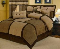Gray Black Micro Suede Comforter Set Queen Size New 7 Piece