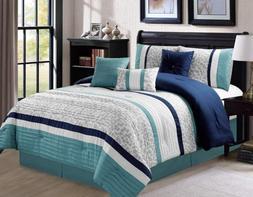 Luxlen 7 Piece Modern Bed / Comforter in a Bag, Cal King, Bl