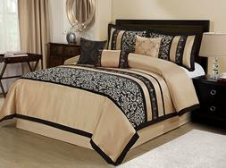HIG 7 Piece ODESA Print & Embroidery Comforter Set-Queen Kin