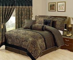 7 Piece Jacquard Comforter set Black Gold All Sizes New at L