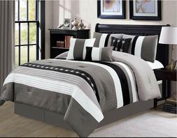 7 Piece Oversize Stripe Luxury Comforter Set,bedding set ,Be