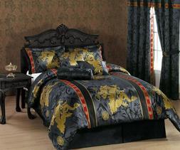 7-Piece Palace Dragon Jacquard Comforter Set Bed-In-A-Bag Ki