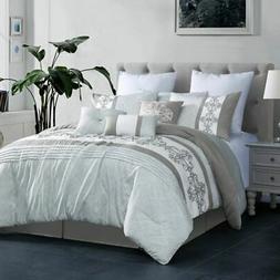 7 piece payton gray white comforter set