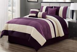 7 Piece Purple Beige Comforter Sheet Set Queen Or King Size