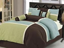 7-Piece Quilted Patchwork Comforter Set Bed-In-A-Bag