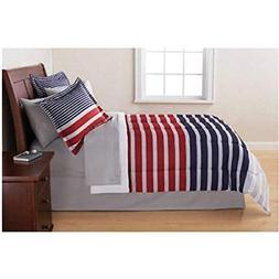 7 Piece Red Boys Rugby Stripes Pattern King Comforter Set Sh