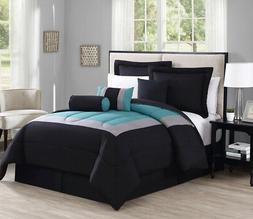 7 Piece Rosslyn Black/Teal Comforter Set
