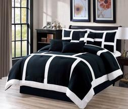 7 Piece Soft Patchwork Comforter set Black White All Sizes N