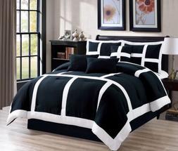 7 Piece Soft Patchwork Comforter set Black White All Sizes N